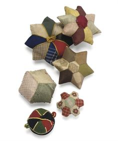 SIX REGENCY AND VICTORIAN PATCHWORK PIN CUSHIONS