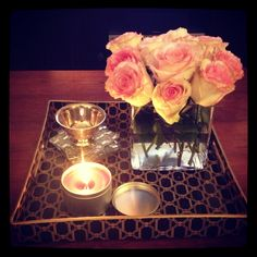 Coffee table tray and fresh roses