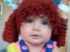 Crocheted Baby Cabbage Patch Doll Beanie   by TheSewingPassionista, $26.00
