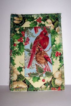 Fabric Postcard Cardinal Pair Christmas by mkhquilts on Etsy, $6.00