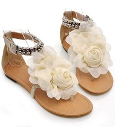 Sandals With Flower and Beading Design