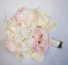 Ivory and Blush Wedding Bouquet  Peony Hydrangea by @Kate Said Yes (Kate), www.katesaidyes.etsy.com silk #peony bouquet