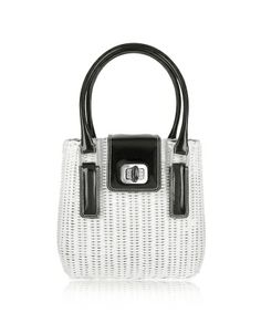An adorable shape and twist lock closure combined with sleek black patent leather and exquisite woven white wicker makes Forzieri's bag a fun must-have warm weather accessory. Signature dust bag included Made in Italy.