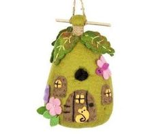 This hand felted wool birdhouse is made of sustainably harvested, naturally water repellent wool. Wool is also naturally dirt and mold resistant. Felt Birdhouse fairy House by Custom Made. Felt House, Felt Fairy, Felt Birds, Handmade Felt, Fairy Houses, Handmade Design, Wool Felt, Felted Wool, Felt Crafts