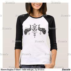 Sleeve Raglan T-Shirt - folk with peacocs