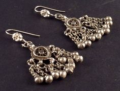 Rajasthan silver earrings- old indian jewelry - earrings from India - jewellery from Rajasthan - ethnic earrings - ethnic tribal jewelry on Etsy, $60.05