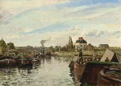 Barge On The Seine At Bougival Painting  - Barge On The Seine At Bougival Fine Art Print