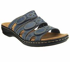 Clarks Bendables Leisa Cacti Leather Triple Strap Slides