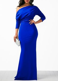 Skew Neck Draped Long Sleeve Mermaid Dress Blue gown, formal dress, off shoulder sexy dress Blue Mermaid Dress, Long Sleeve Mermaid Dress, Mermaid Dresses, Mermaid Gown, Look Fashion, Womens Fashion, Luxury Fashion, Fashion Trends, African Dress