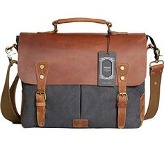 New Trending Briefcases amp; Laptop Bags: Wowbox Messenger Satchel bag for men and women,Vintage canvas real leather 14-inch Laptop Briefcase for everday use 13(L)x10.5(H) x 4.1(W)(Gray). Wowbox Messenger Satchel bag for men and women,Vintage canvas real leather 14-inch Laptop Briefcase for everday use 13″(L)x10.5″(H) x 4.1″(W)(Gray)  Special Offer: $39.99  211 Reviews 【Note】 1.The distinguishing feature of our bag leather is that