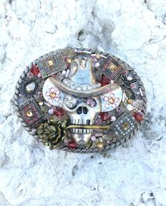 Pink Skull Belt Buckle SKULL BUCKLE Bling by SecretStashBoutique