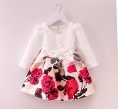 Free Shipping 2015 Baby Girls Princess Dresses Fashion Autumn Winter Jacquard Long-sleeved Dress