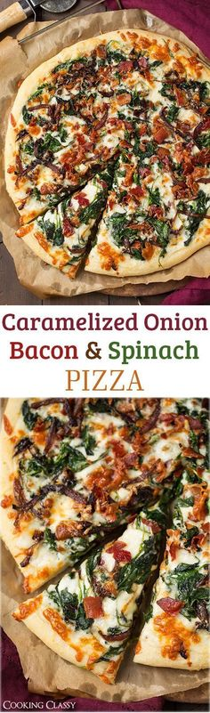 Caramelized Onion, Bacon and Spinach Pizza - layered with white sauce, mozzarella, parmesan, crispy bacon, fresh spinach, and caramelized onions. it is AMAZING!