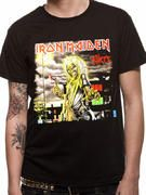 Officially licensed Iron Maiden t-shirt design printed on a Black 100% cotton short sleeved T-shirt.