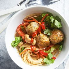 Asian Spaghetti and Chicken Meatballs From Better Homes and Gardens, ideas and improvement projects for your home and garden plus recipes and entertaining ideas.