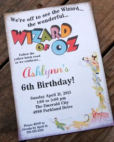 LOVE this invite, but the theme could be a bit overwhelming.  Wizard of Oz inspired Printable Invite for Baby Shower or Birthday Party DIY Non Photo Invitation by BeeAndDaisy