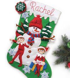 Bucilla ® estacional - Kits Stocking - - Fieltro El duende en la plataforma ® - muñeco de nieve y Elf Scouts   Empresas de la tela escocesa
