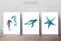Oceanic life, Sea creatures Set of Seaturtle, Jellyfish, Seahorses Home Decor, Sealife Giclee Art Print Set by ColorWatercolor on Etsy Sea Life Art, Sea Art, Animal Art Prints, Fine Art Prints, Watercolor Paintings, Original Paintings, Blue Painting, Whale Illustration, Minimalist Painting