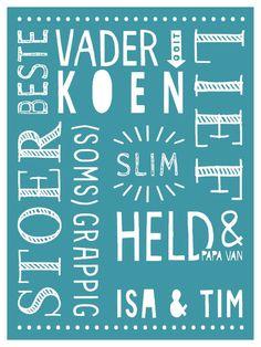 Origineel vaderdag cadeau: gepersonaliseerde poster vaderdag met eigen namen