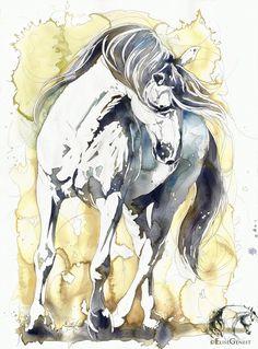 Reproductions giclées sur toile - giclée prints on canvas — Elise Genest Abstract Horse Painting, Watercolor Horse, Watercolor Artists, Painted Horses, Horse Drawings, Animal Drawings, Pretty Horses, Beautiful Horses, L'art Du Portrait