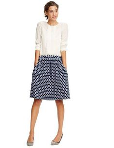 Like the casual mixed with quality fabric, and print skirt.  Jersey Jacquard Skirt WG594 A-line & Full at Boden