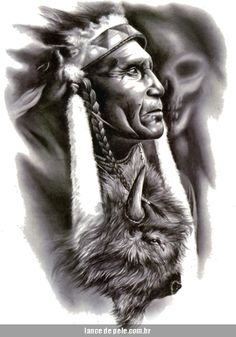 Tattoo 7738 Apache Indian Warrior Native American Buffalo