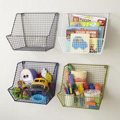 Kids Storage: Wire Wall Storage Bins in Shelf & Wall Storage bedroom or playroom Wire Baskets, Storage Baskets, Hanging Baskets, Storage Ideas, Storage Design, Wire Basket On Wall, Wire Basket Shelves, Wall Mounted Storage Bins, Toy Storage Solutions