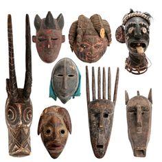 Collection of African Antique Primitive Masks.