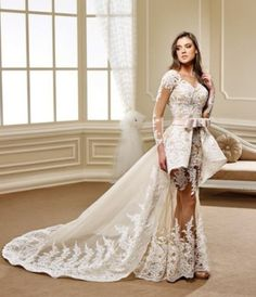 A haute couture wedding gown with sheer long sleeves. The peplum style wedding gown has a removable train. Our company specializes in one of a kind custom made wedding dresses. Replicas of haute couture bridal gowns are also available. Please contact us directly for pricing , details and more options. https://www.dariuscordell.com/featured/custom-wedding-dresses-custom-bridal-gowns/