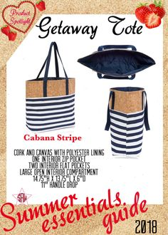 Graphic for VIP Facebook group or party. Getaway Tote Summer essentials product spotlight. Thirty-One spring/summer 2018 www.mythirtyone.ca/sabrinawhite