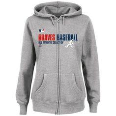 Women's Atlanta Braves Majestic Gray Authentic Collection Team Favorite Full-Zip Hoodie