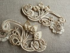 RESERVED FOR kbuda Antique Lace Appliques Embroidered Soutache & Silk Old Rococo Trim Wedding Supplies Furnishings Baroque