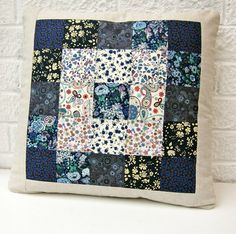 Liberty lawn cushion cover - blue