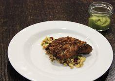 Schellfisch in Porkfloss-Walnusskruste mit Couscous und Avocado-Kaffee-Mayonnaise von Jens (gekleckert) und Christiane (Schabakery). #walnussgenuss