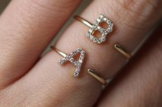 Excited to share the latest addition to my shop: Gold Initial rings gold, Customized Ring, Diamonds initial rings gold, Letter ring Solid gold, name ring gold Name Rings, Initial Rings, Wedding Rings For Women, Gold Engagement Rings, Engraved Rings, Diamond Wedding Bands, Diamond Rings, White Gold Rings, Fine Jewelry