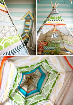 I've wanted a teepee for about, oh, seven years now. did you know tipi, tepee + teepee are all acceptable? Diy Teepee, No Sew Teepee, Teepee Party, Handmade Home, Cabana, Indoor Play Places, Diy Fort, Boho Deco, Reading Nook