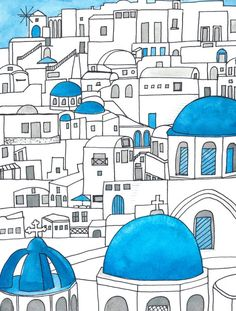 'Santorini Blue and White Paradise' Photographic Print by jenbucheli Building Drawing, Building Art, Watercolor And Ink, Watercolor Paintings, Male Character, Greece Painting, Greece Art, Urban Sketching, Doodle Art