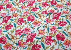 Quilt Half Yard Cotton Fabric Floral Poppy Flower in Ivory. $3.90, via Etsy.