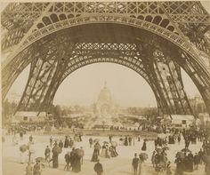 You can view this amazing photo of Paris in 1889 at the Philadelphia Museum of Art.   (Exposition Universelle, Paris 1889 / Au Pied de la Tour, artist unknown)
