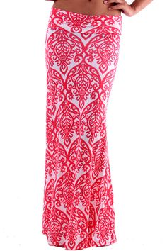 Neha Damask Maxi Skirt in Coral from Ava Adorn