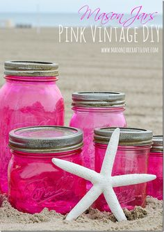 How to make pink vintage-looking mason jars complete with aged mason jar lids.