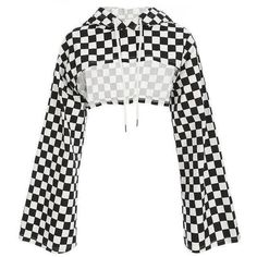 MONGIFI Checkerboard Cotton Hoodies Women Sweatshirts Flare Long Sleeve Smocked Checkered Crop Tops Plaid Ladies Hoodies You are in the right place about Country Outfit english Here we offer you the m Teen Fashion Outfits, Edgy Outfits, Grunge Outfits, Cool Outfits, Womens Fashion, Fashion Dresses, Sims4 Clothes, Vetement Fashion, Mode Top