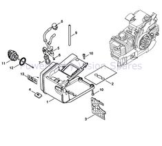 Stihl MS 200 Chainsaw Parts Diagram, Tank housing MS 200 Chainsaw, Ms, Diagram, Cards, Maps, Playing Cards