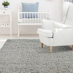 Amazon.com: iCustomRug Affordable Shaggy Rug Dixie Cozy & Soft Kids Shag Area Rug Solid Color Grey, For Children's Play Area, Bedroom or Nursery Carpet 5 Feet x 7 Feet (5' x 7'): Kitchen & Dining