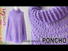 Basic Poncho With Crochet Collar Easy Tutorial - ilove-crochet