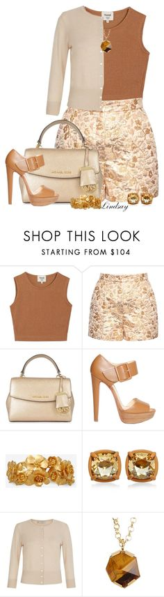 """""""Dolce & Gabbana Floral-brocade high-rise shorts"""" by lindsayd78 ❤ liked on Polyvore featuring Samuji, Dolce&Gabbana, MICHAEL Michael Kors, Christian Louboutin, Valentino, Hobbs and Vince Camuto"""