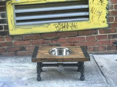 Industrial Dog Feeder, Dog Bowl, Pet Feeder, Pet Supplies, Pet Feeding, Elevated Dog Bowl, Raised Dog Bowl, Pipe Furniture, Industrial Style by TheCleverRaven on Etsy https://www.etsy.com/listing/461451668/industrial-dog-feeder-dog-bowl-pet