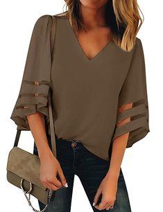 RUIVE Women/'s Deep V-Neck Tops Autumn Pleated Half Sleeve Bandeau Solid Colour Sweatshirt Ladies Casual Blouse