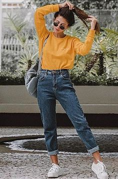 15 melhores imagens de Calça Amarela | Calça amarela, Moda