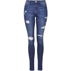 TOPSHOP TALL MOTO Rip Skinny Jeans ($80) ❤ liked on Polyvore featuring jeans, high waisted destroyed jeans, high rise jeans, high-waisted jeans, distressed jeans and denim skinny jeans